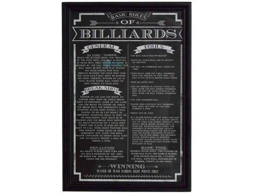 Hathaway Billiards Game Rules Wall Art | NG2029BL BG2029BL