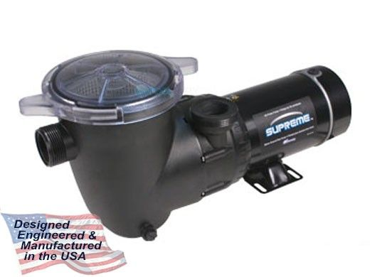Waterway Supreme 48-Frame 2HP Above Ground 2-Speed Pool Pump 115V 18.04 Amps   3' Twist Lock Cord   PSP2200-3