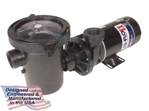Waterway Hi-Flo II Side Discharge 48-Frame 1HP Above Ground 2-Speed Pool Pump 115V   3' Twist Lock Cord   PH2100-3