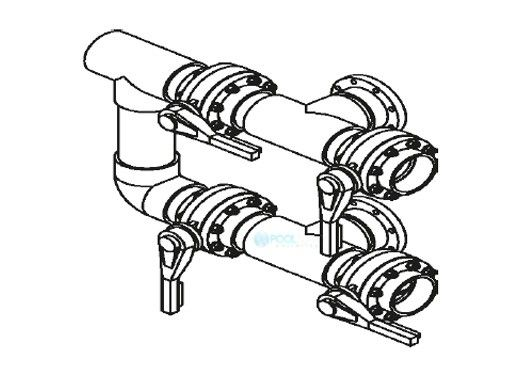 "Waterco Manual 4-Valve 3"" Commercial Manifold for Single Vertical Filter with 3"" Bulkhead Ports 