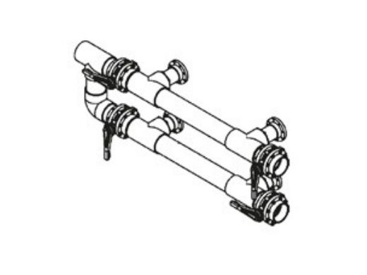 """Waterco Manual 4-Valve 4"""" Commercial Manifold for Dual Side-by-Side Vertical Filters with 3"""" Bulkhead Ports 