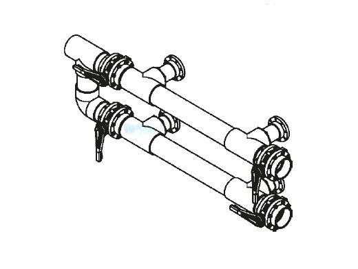 "Waterco Manual 4-Valve 6"" Commercial Manifold for Dual Side- by-Side Horizontal Filters with 4"" Flange Ports 