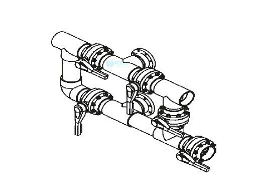 """Waterco Manual 5-Valve 3"""" Commercial Manifold for Single Vertical Filter with 3"""" Bulkhead Ports 