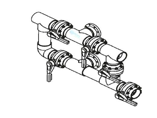 """Waterco Manual 5-Valve 10"""" Commercial Manifold for Single Horizontal Vertical Filter with 10"""" Flange Ports 