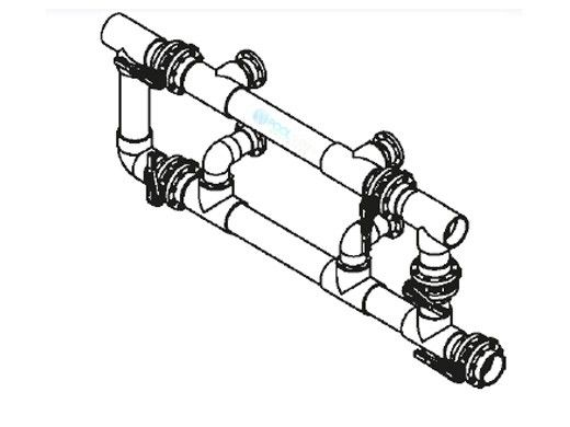 """Waterco Manual 5-Valve 6"""" Commercial Manifold for Dual Side-by-Side Horizontal Filters with 4"""" Flange Ports 