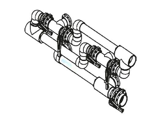 """Waterco 6"""" Manual Clean Water Backwash Header for Dual Side-by-Side Commercial Manifolds Horizontal Filters with 4"""" Ports 