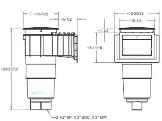 "AquaStar Flow Star Skimmer with Water Stop Face, Float Assembly, Basket, Lid, Adjustable Collar and 6"" Socket Sump   White   SKR101F"