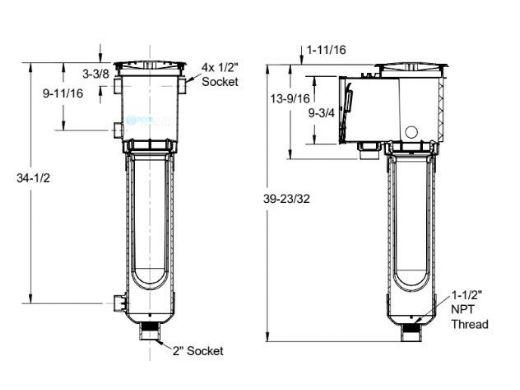 AquaStar ZarStar Skimmer with Large Basket, Filter Bag, Adjustable Collar, Lid and Ozonator Ports   Blue   SKZ101104