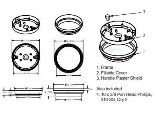 "AquaStar Fillable Standard 10"" Skimmer Lid and Frame | White | FL10101"