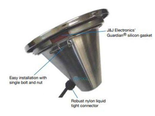 J&J Electronics Incandescent Inground Pool Light Fixture | 300W 120V 50' Cord | TPL-P120-300-50