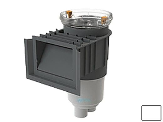 AquaStar Flow Star Standard Skimmer with Water Stop Face, Float Assembly, Basket, Clear Fill Lid and Adjustable Collar   White   SKR101FL100