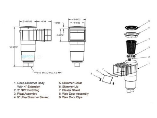 "AquaStar Flow Star Skimmer with Flush Face 4"" Extension, Float Assembly, Basket, Lid and Collar with 9"" Ultra Basket | White | SKR14101-L"