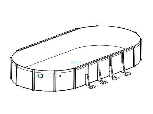 """15' x 30' Oval Pristine Bay Above Ground Pool Sub-Assembly   52"""" Wall   5-4605-129-52D"""