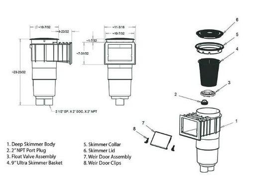 "Aquastar Flow Star Skimmer with 5"" Deep Throat, Float Assembly, Lid, Adjustable Collar and 9"" Ultra Basket for Fiberglass   Light Gray   SKRFL12103-L"