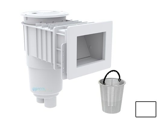 "AquaStar Flow Star Skimmer with Narrow 9"" Deep Throat, Float Assembly, Lid, Adjustable Collar and 9"" Ultra Basket for Fiberglass | White | SKRFFL3N101-L"