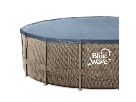 """Blue Wave Dark Cocoa Wicker Frame Swimming Pool Package   18' Round  52"""" Tall   NB19797"""