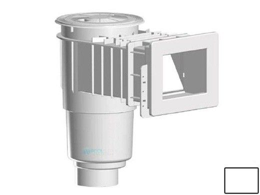 "AquaStar Flow Star Skimmer with Narrow 9"" Deep Throat, Float Assembly, Lid, Adjustable Collar and 4"" Socket Sump for Fiberglass | White | SKRFFL3N101D"