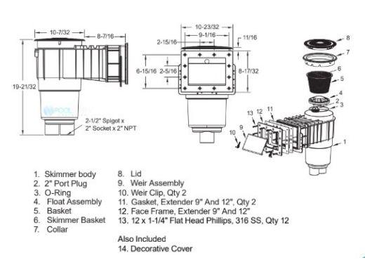 "AquaStar Flow Star Standard Skimmer with Narrow 9"" Deep Throat, Float Assembly, Basket, Lid and Adjustable Collar and 9"" Ultra Basket for Vinyl | White | SKRVFL3N101-L"