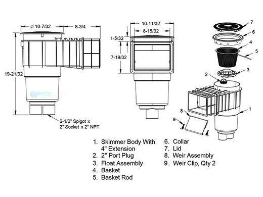 "AquaStar Flow Star Standard Skimmer with Flush Face 4"" Extension, Float Assembly, Basket, Lid, Collar and 4"" Socket Sump | White | SKR14101D"