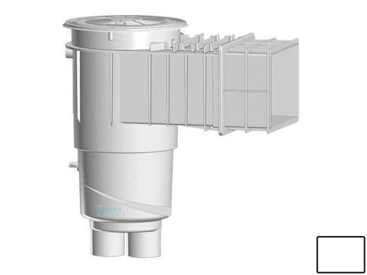 """AquaStar Flow Star Water Bonded Skimmer with Flush Face 4"""" Extension, Float Assembly, Basket, Lid and Collar   White   SKR3201"""
