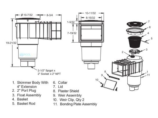 "AquaStar Flow Star Water Bonded Skimmer with Flush Face 4"" Extension, Float Assembly, Basket, Lid and Collar | Light Gray | SKR3203"