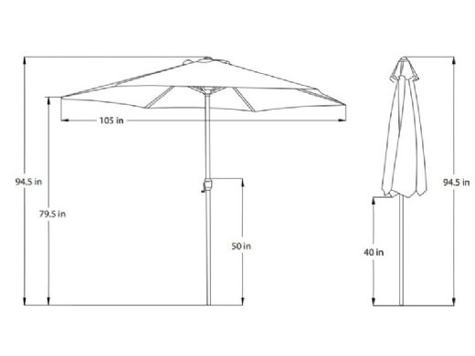 Mirage Autotilt Market Umbrella   9-ft Octagon   Red Olefin   NU5422R