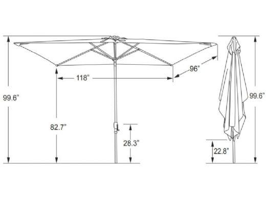 Caspian Market Umbrella | 8' x 10' Rectangular | Red | NU5448R