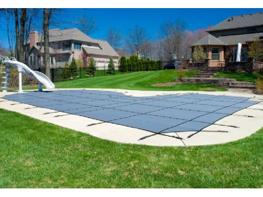 GLI 12-Year Secur-A-Pool Mesh Safety Cover | Rectangle 12' x 24' Gray | 4' x 8' Center End Step | 201224RECES48SAPGRY