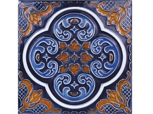 National Pool Tile Casablanca 6x6 Deco Series   Cobalt Rust   CAS200