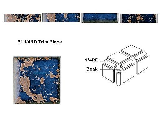National Pool Tile Discovery Field 3x3 Trim | Terra Blue | DSF10N .25RD