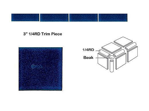 National Pool Tile Discovery Field 3x3 Trim   Cobalt Blue   DSF50N 1/4RD