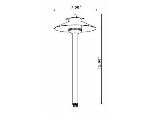 "FX Luminaire | DelMare 20 Watt Copper Pathlight with 12"" Riser | DM-20-12R-CU | 226330"