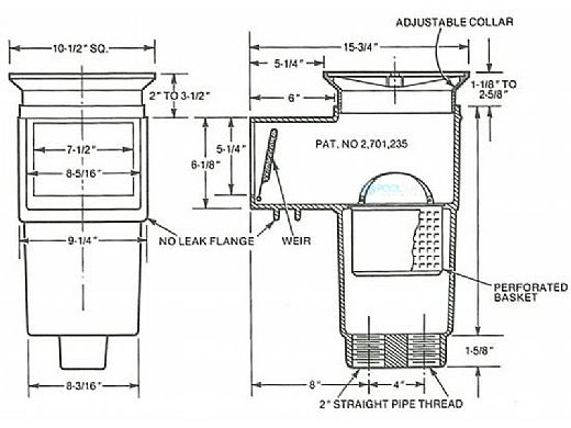 """Hayward Concrete Skimmer with Square Cover   2"""" FIP   SP1082"""