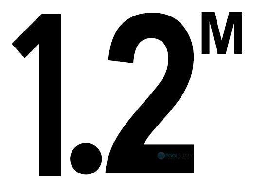 "Depth Marker 6x6 Frost Proof Tile | 4"" Non-Skid | 1.2M | C622712"