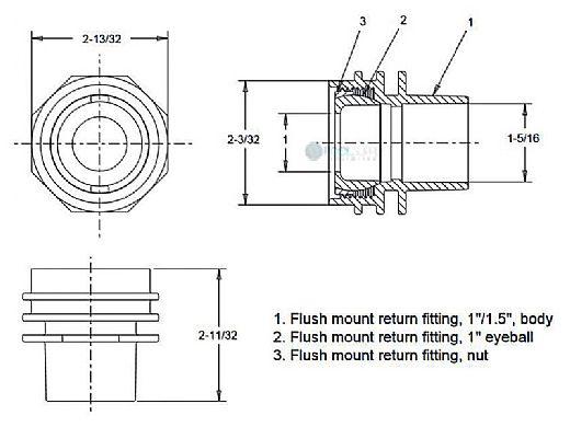 "AquaStar 1"" Flush Mount Return Fitting with Water Stop | Black | 302"