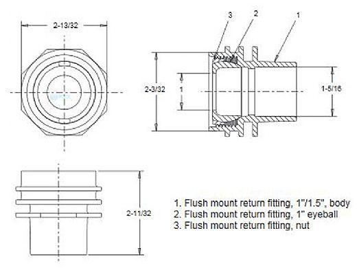 "AquaStar 1"" Flush Mount Return Fitting with Water Stop | Dark Gray | 305"