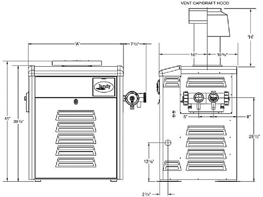 Jandy Legacy LRZ Pool Heater   175,000 BTU Propane   Millivolt Standing Pilot   Manual Control   Polymer Heads   LRZ175MP