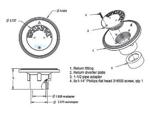 "AquaStar 4"" Adjustable Floor Return Fitting with Water Stop | White | 4DIV101"