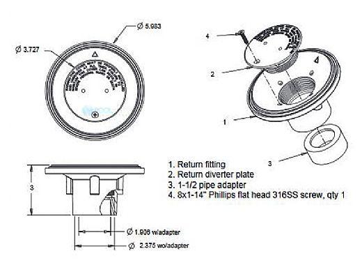 "AquaStar 4"" Adjustable Floor Return Fitting with Water Stop   Light Gray   4DIV103"