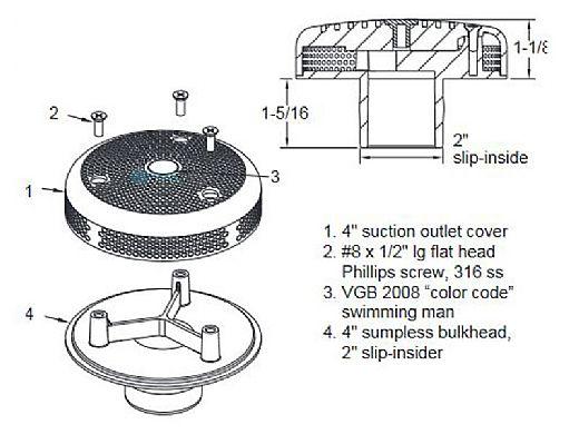 "AquaStar 4"" Sumpless Bulkhead Fitting with 2"" Slip Insider (VGB Series)   Light Gray   420SI103"