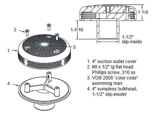 "AquaStar 4"" Sumpless Bulkhead Fitting with 1.5"" Slip Insider (VGB Series)   Blue   415SI104"