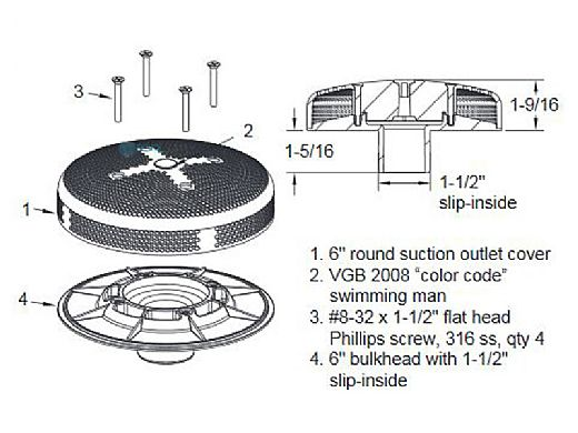 "AquaStar 6"" Sumpless Bulkhead Fitting with 1.5"" Slip Insider (VGB Series)   White   615SI101"