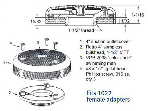 "AquaStar 4"" Retrofit Sumpless Bulkhead Fitting with 1.5"" MPT (VGB Series) | White | R415T101"