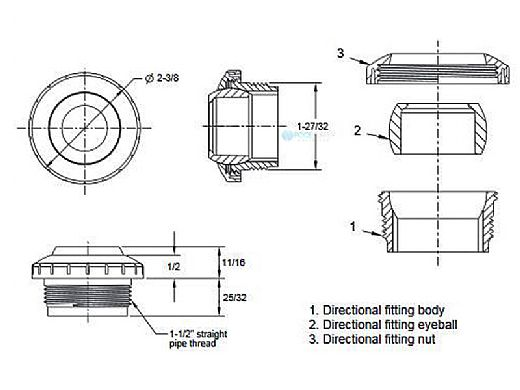 "Aquastar Three Piece Directional Eyeball Fitting | 1-1/2"" MPT | with .75"" Orifice | White | 8201"