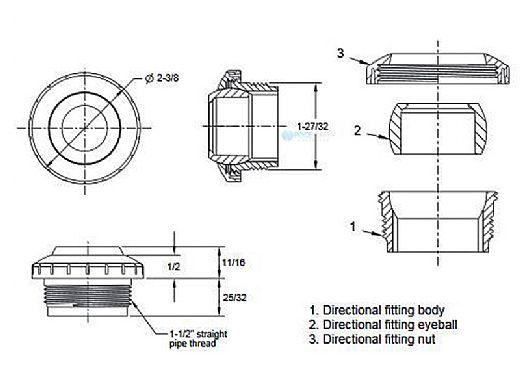 "Aquastar Three Piece Directional Eyeball Fitting | 1-1/2"" MPT | with .5"" Orifice | White | 8301"