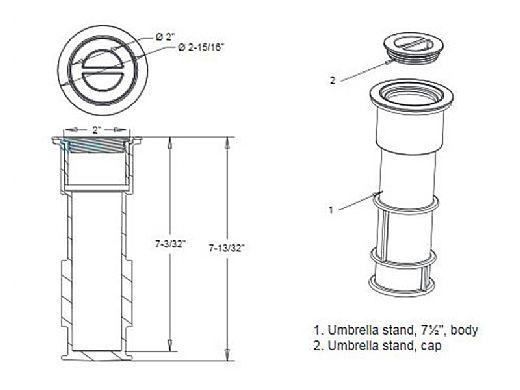 "AquaStar 7-1/2"" Umbrella Stands with Sleeve and Center Cap | Black | US102"