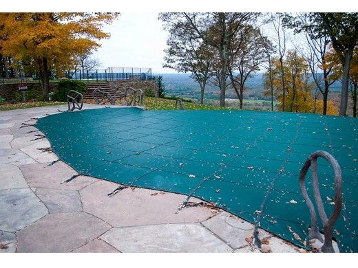 Merlin Dura-Mesh 15-Year Mesh Safety Cover | Rectangle 12' x 24' | 4' x 8' Center End Step | Green | 105M-M-GR