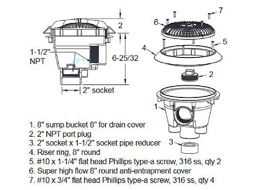 AquaStar 8'' Star Anti-Entrapment Cover, Solid Riser Ring and Standard Sump (VGB Series) | Light Gray | A8RSB103