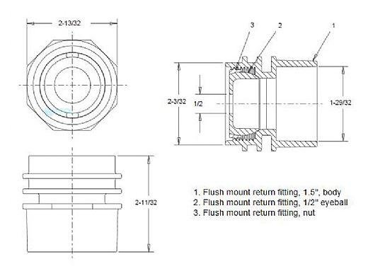 "AquaStar Choice Flush Mount Return/Water Barrier with 1.5"" Socket With 1/2"" Orifice | Dark Gray | JE3105C"