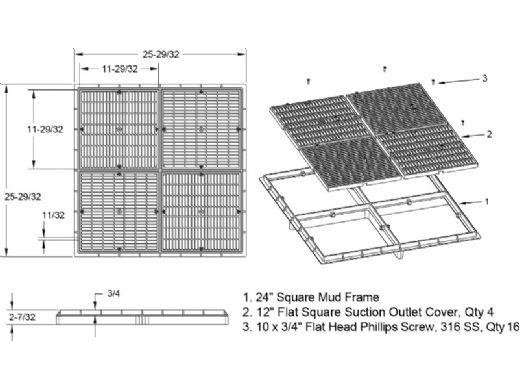 """AquaStar 24"""" Square Mud Frame   with Four 12"""" Square Flat Grates   (VGB Series)   Black   24102"""